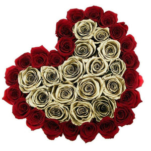Red & 24k Gold Roses That Last A Year - Love Heart Rose Box - Palatial Petals
