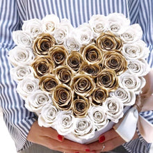 Roses That Last A Year - Love Heart Rose Box - Gold & White - Palatial Petals