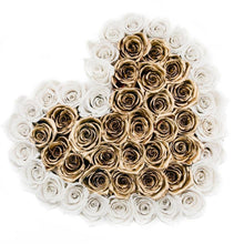 White & 24k Gold Roses That Last A Year - Love Heart Rose Box - Palatial Petals