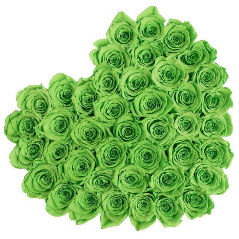 Roses That Last A Year - Love Heart Rose Box - Green - Palatial Petals