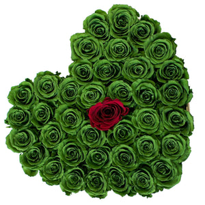 Green & Red Roses That Last A Year - Love Heart Box - Palatial Petals