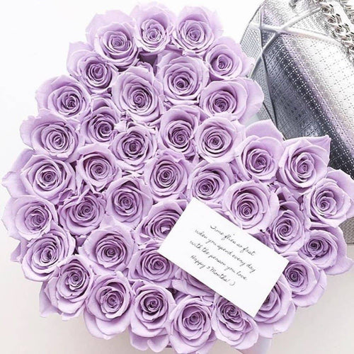 Roses That Last A Year - Love Heart Rose Box - Lavender - Palatial Petals