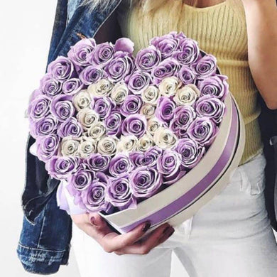 Lavender & White Roses That Last A Year - Custom Love Heart Rose Box - Palatial Petals