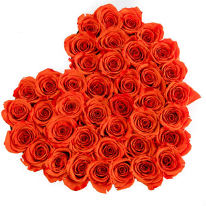 Roses That Last A Year - Love Heart Rose Box - Orange - Palatial Petals
