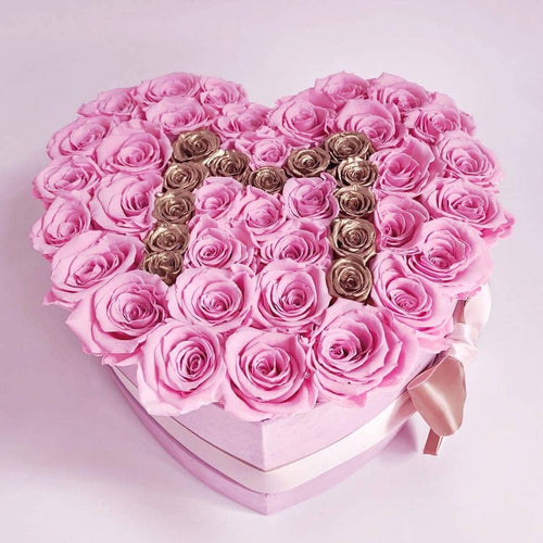 Roses That Last A Year - Love Heart Rose Box - Pink & Gold - Palatial Petals
