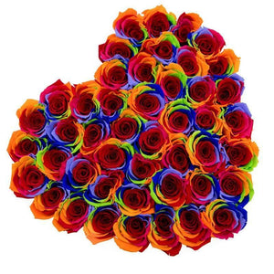 Rainbow Roses That Last A Year - Love Heart Rose Box - Palatial Petals