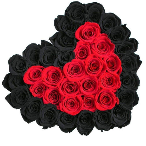 Roses That Last A Year - Love Heart Rose Box - Red & Black - Palatial Petals