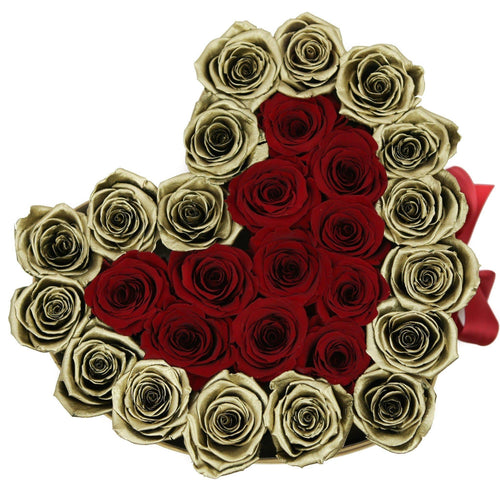 Roses That Last A Year - Love Heart Rose Box - Red & Gold - Palatial Petals