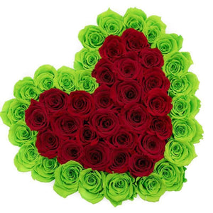 Roses That Last A Year - Love Heart Rose Box - Red & Green - Palatial Petals