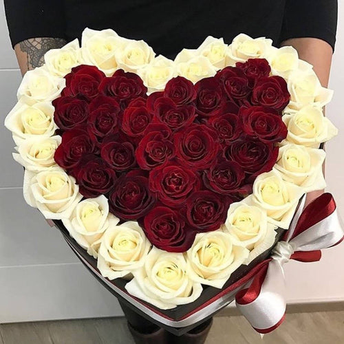 Roses That Last A Year - Love Heart Rose Box - Red & Vanilla - Palatial Petals