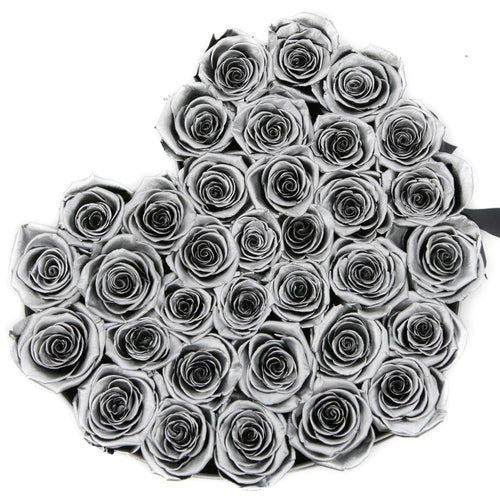 Roses That Last A Year - Love Heart Rose Box - Silver - Palatial Petals
