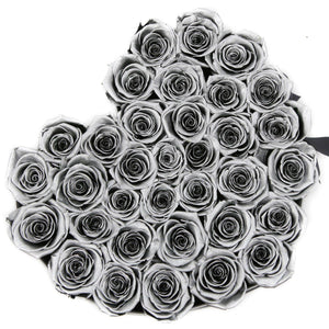 Metallic Silver Roses That Last A Year - Love Heart Rose Box - Palatial Petals