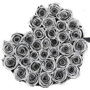 Silver Roses That Last A Year - Love Heart Rose Box - Palatial Petals