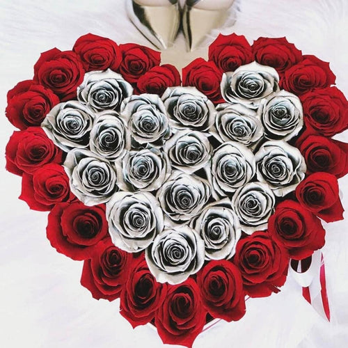 Roses That Last A Year - Love Heart Rose Box - Silver & Red - Palatial Petals