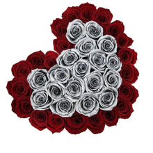Red & Metallic Silver Roses That Last A Year - Love Heart Rose Box - Palatial Petals