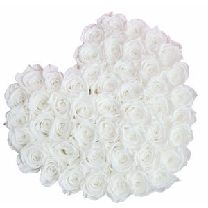 White Roses That Last A Year - Love Heart Rose Box - Palatial Petals