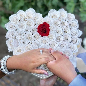 White & Red Roses That Last A Year - Love Heart Rose Box - Palatial Petals