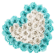 Tiffany Blue & White Roses That Last A Year - Love Heart Rose Box - Palatial Petals