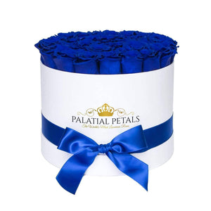 Royal Blue Roses That Last A Year - Large Rose Box - Palatial Petals