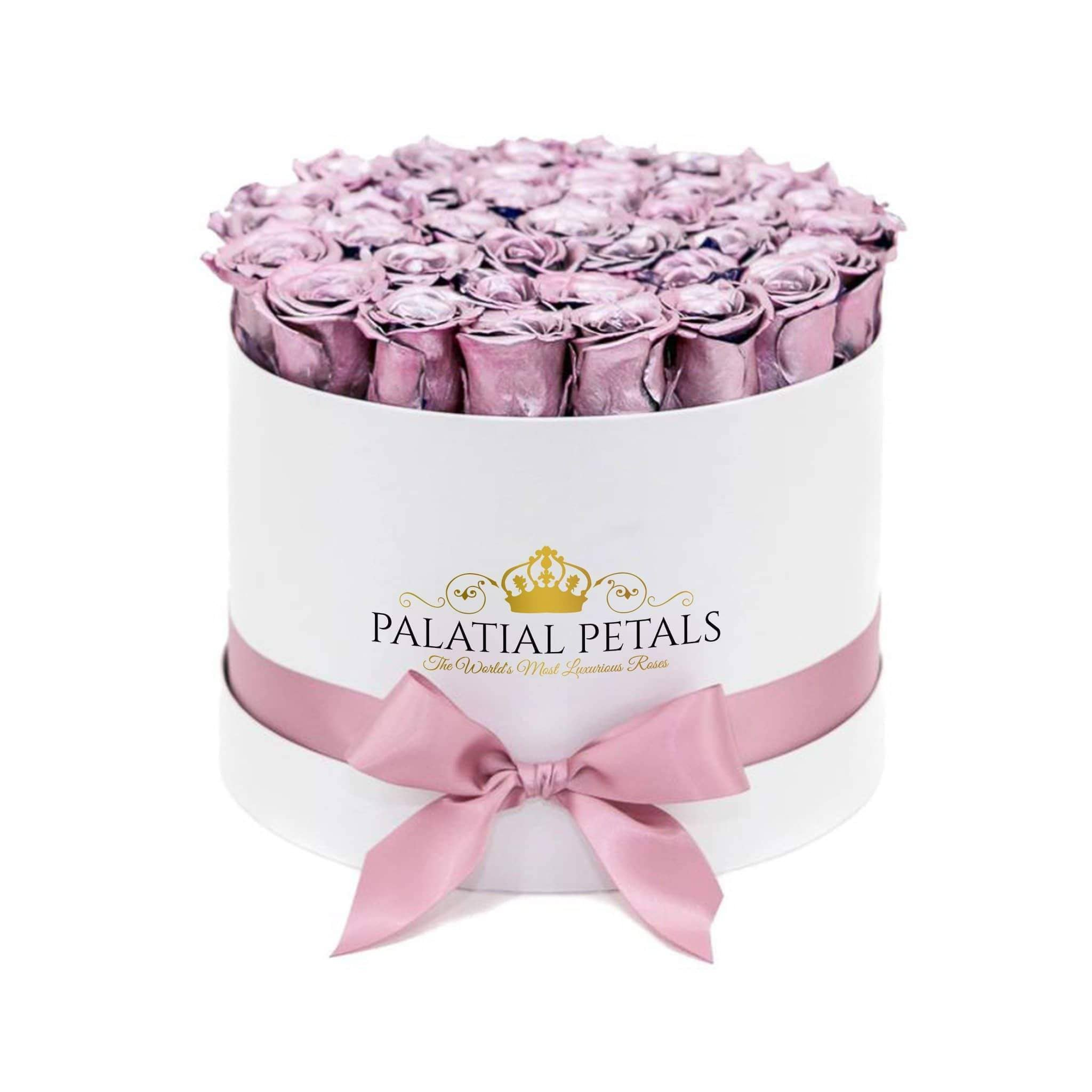 Shiny Pink Roses That Last A Year - Large Rose Box - Palatial Petals