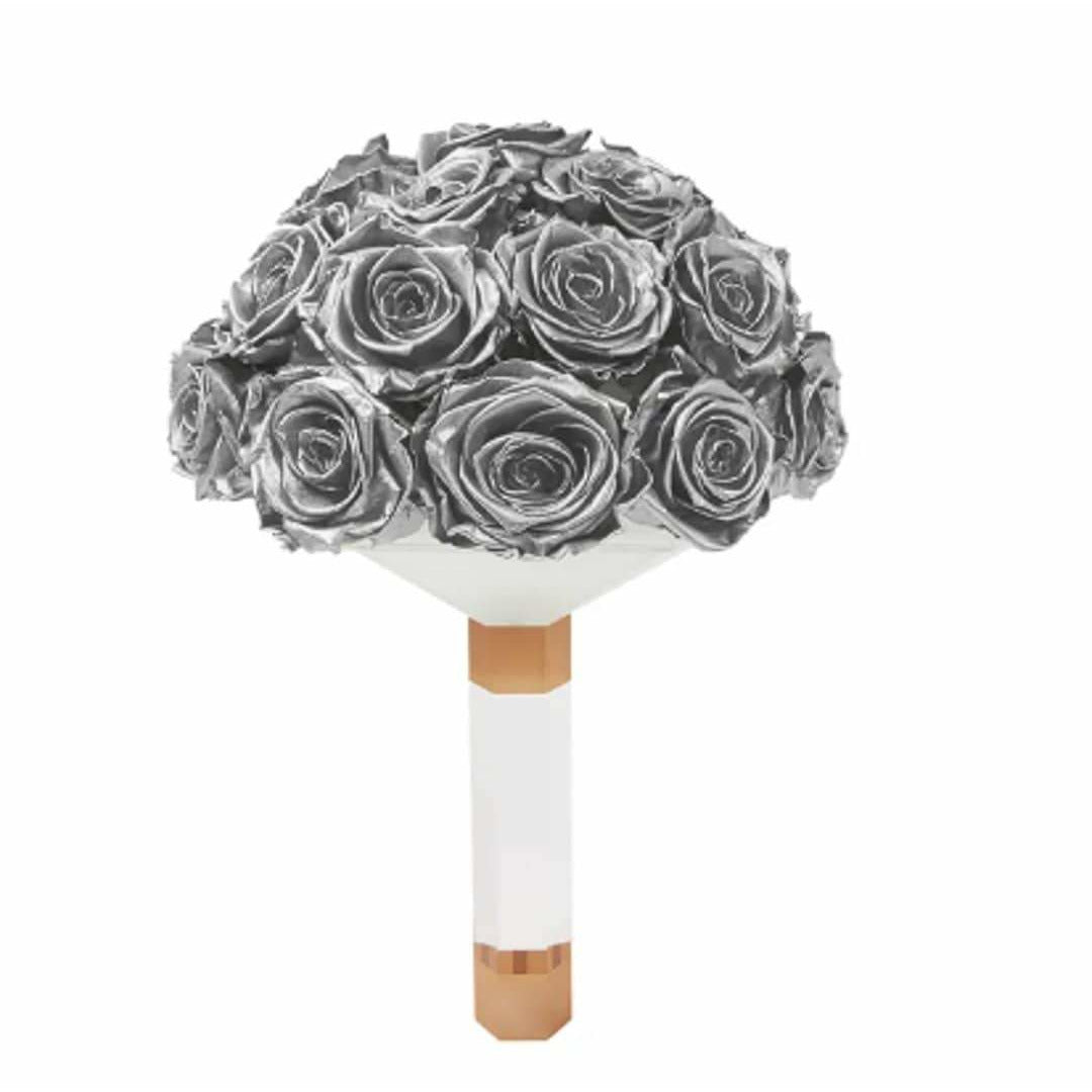 Silver Rose Luxury Eternity Bridal Bouquet - Palatial Petals