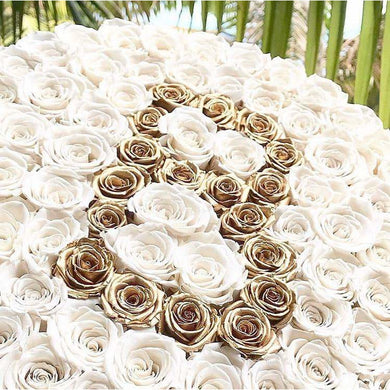White & 24K Gold Roses That Last A Year - Custom Deluxe Rose Box - Palatial Petals