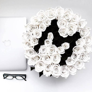 White & Black Roses That Last A Year - Custom Deluxe Rose Box - Palatial Petals