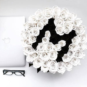 Snow White & Black Magic Roses That Last A Year - XL Custom Rose Box - Palatial Petals