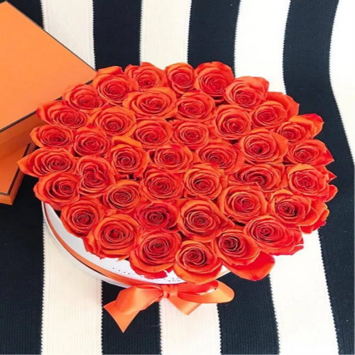 Sunset Orange Preserved Roses That Last A Year - XL Rose Box - Palatial Petals