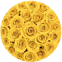 Sunshine Yellow Preserved Roses That Last A Year - Medium Gold Rose Box - Palatial Petals