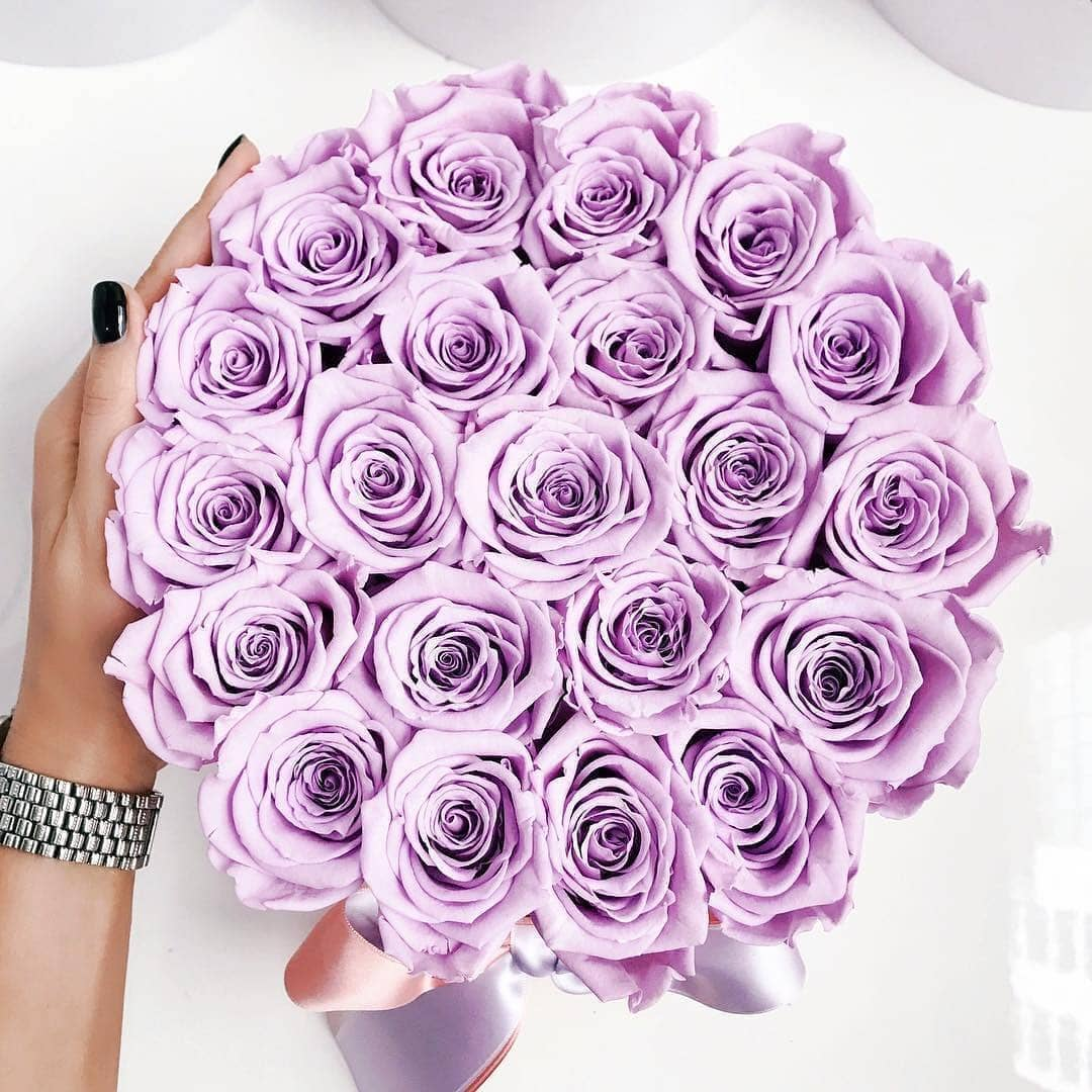 Lavender Roses That Last A Year - Large Rose Box - Palatial Petals