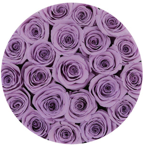 Sweet Lavender Preserved Roses That Last A Year - Medium Black Rose Box - Palatial Petals