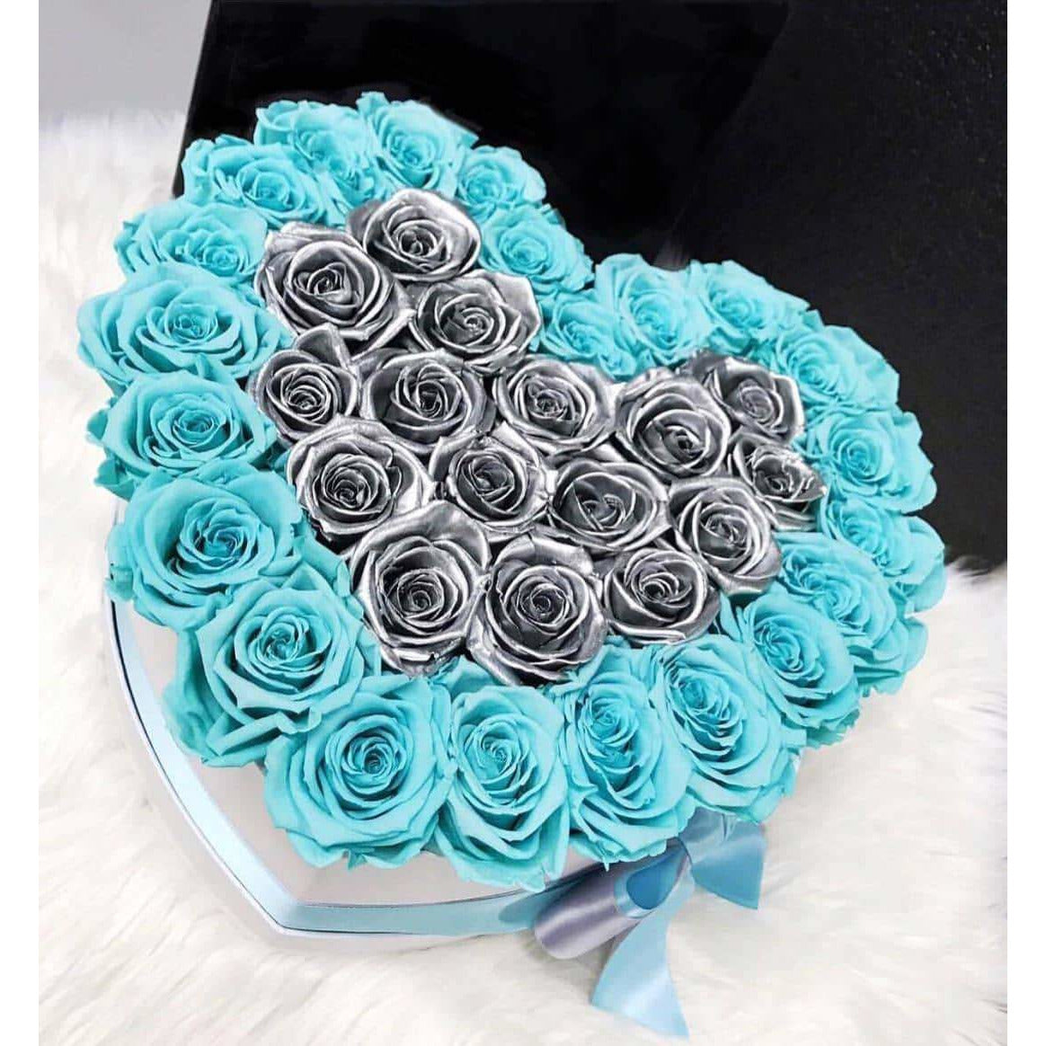 Tiffany Blue & Metallic Silver Roses That Last A Year - Love Heart Rose Box - Palatial Petals