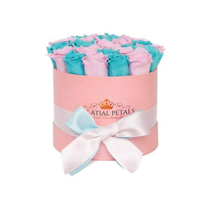 Tiffany Blue & Pink Roses That Last A Year - Classic Rose Box - Palatial Petals