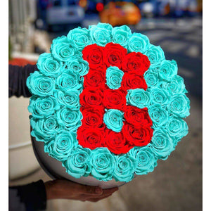 Tiffany Blue & Red Roses That Last A Year - Custom Deluxe Rose Box - Palatial Petals