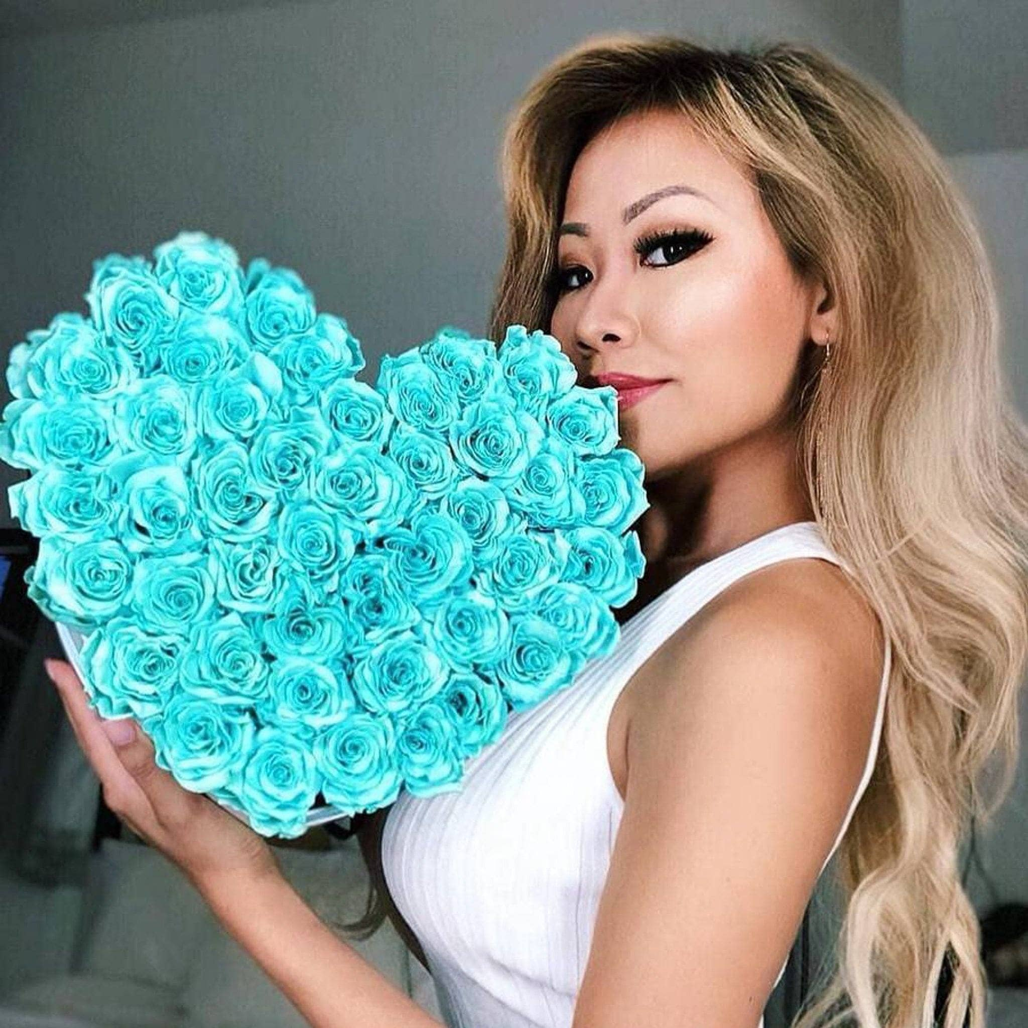 Tiffany Blue Roses That Last A Year - Love Heart Box - Palatial Petals