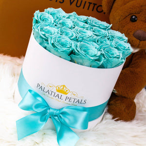 Tiffany Blue Roses That Last A Year - Medium Rose Box - Palatial Petals