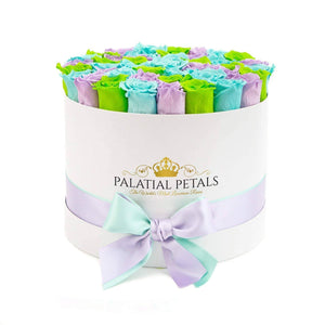 Tiffany Blue, Sweet Lavender & Lime Green Roses That Last A Year - Large Rose Box - Palatial Petals