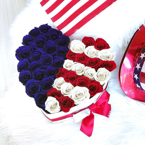 USA Flag Roses That Last A Year - Love Heart Rose Box - Palatial Petals