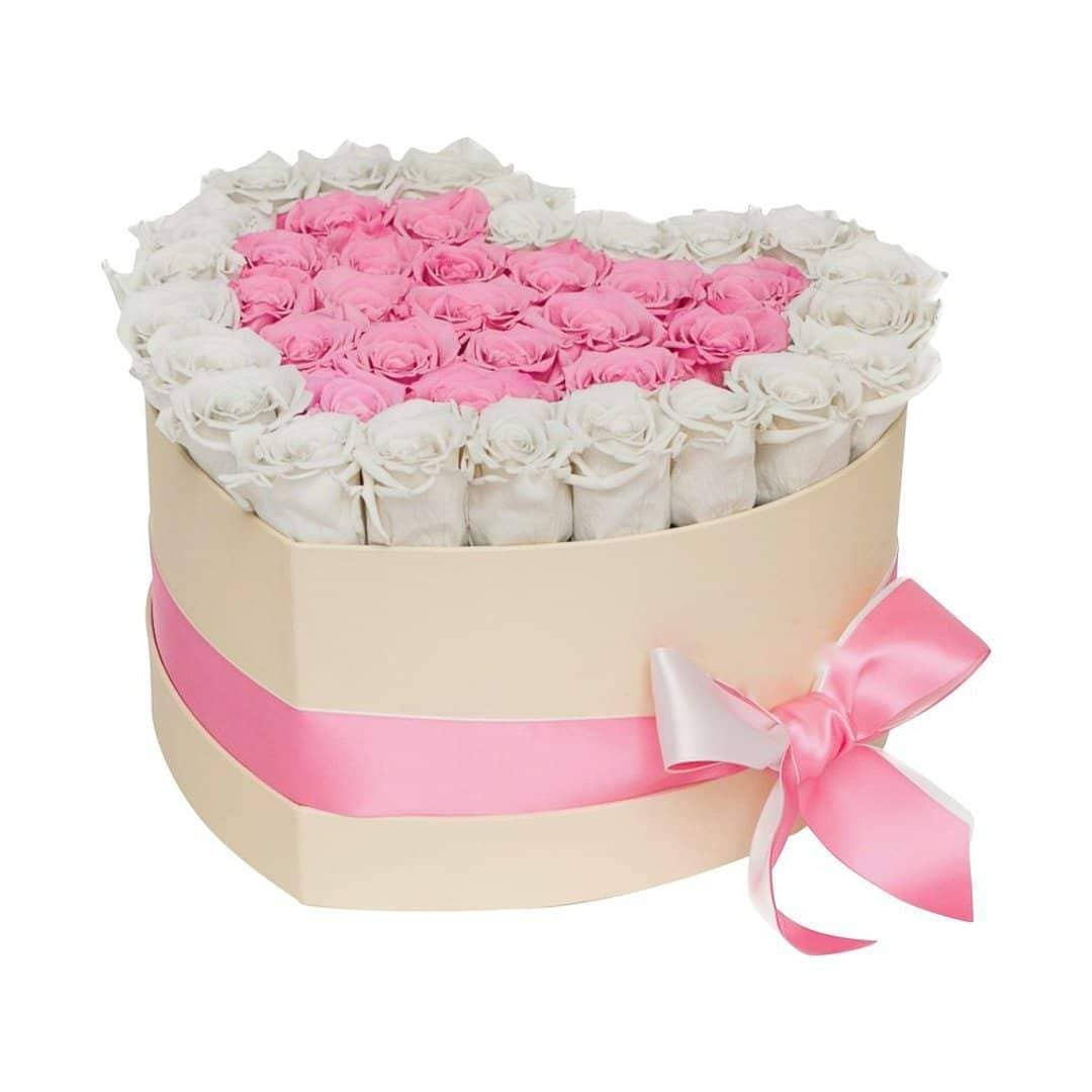 White & Pink Roses That Last A Year - Love Heart Rose Box - Palatial Petals