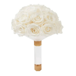 Princess White Luxury Eternity Rose Bridal Bouquet - Palatial Petals