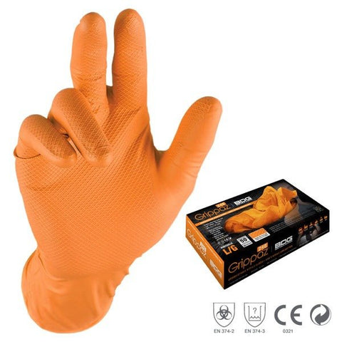 GRIPPAZ NITRIL SKINNING GLOVES - ORANGE
