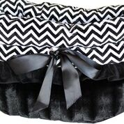 Reversible Snuggle Bugs Pet Bed, Bag, and Car Seat All-in-One - Black Chevron