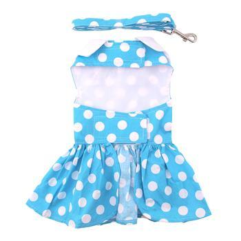 Blue Polka Dot Dog Dress Set with Matching Leash