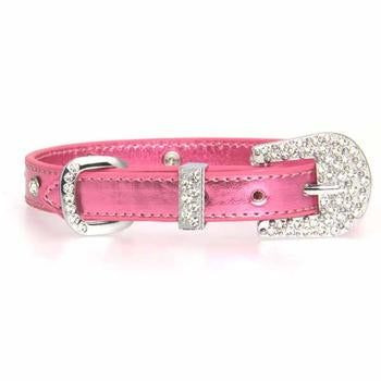 Foxy Metallic Jewel Dog Collar by Cha-Cha Couture - Pink