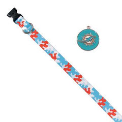 Miami Dolphins Team Camo Dog Collar and ID Tag by Yellow Dog