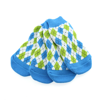 Image of set of 4 Non-Skid Dog Socks in Blue and Green Argyle
