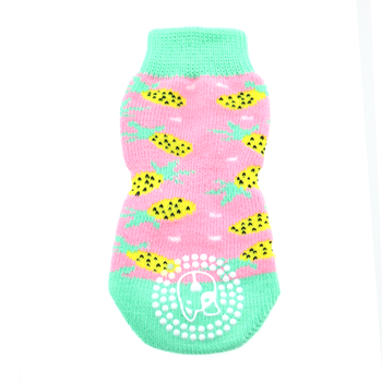 Bottom view of Non-Skid Dog Sock in Pink Pineapple pattern