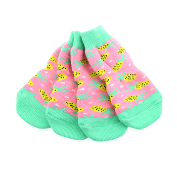 Set of 4 Non-Skid Dog Socks in Pink Pineapple pattern