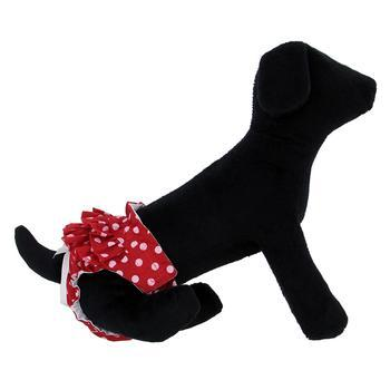 Image of dog wearing Ruffled Red and White Polka Dot Dog Panties, side view.